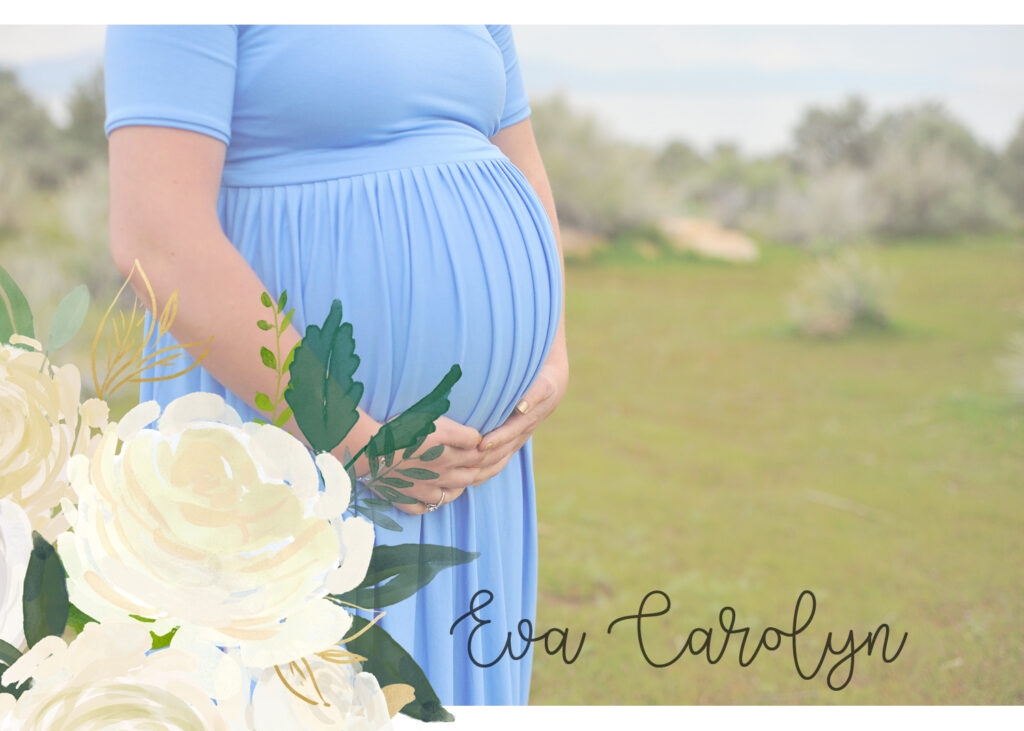 Eva's Story: One mother's honest journey through child loss. Photo of pregnant woman holding her belly.